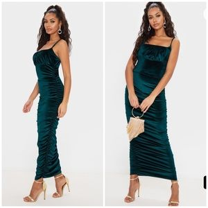 PLT Emerald Velvet Ruched Maxi Dress Green Large